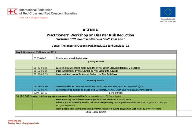 """South-East Asia Regional Delegation  AGENDA Practitioners' Workshop on Disaster Risk Reduction """"Inclusive DRR toward resil..."""