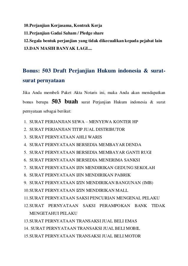 Draft Akta Notaris Lengkap Dengan Surat Surat Perjanjian Dan