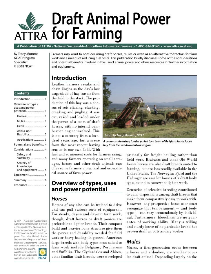 Draft Animal PowerATTRA for Farming   A Publication of ATTRA - National Sustainable Agriculture Information Service • 1-80...