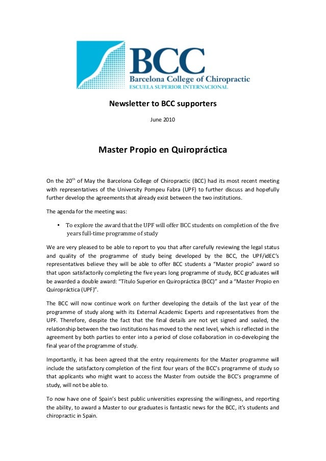 NewslettertoBCCsupporters June2010  MasterPropioenQuiropráctica  Onthe20th ofMaytheBarcelonaCollegeo...