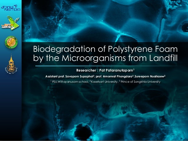 Biodegradation of Polystyrene Foam by the Microorganisms from Landfill Researcher : Pat Pataranutaporn1 Assistant prof. Sa...