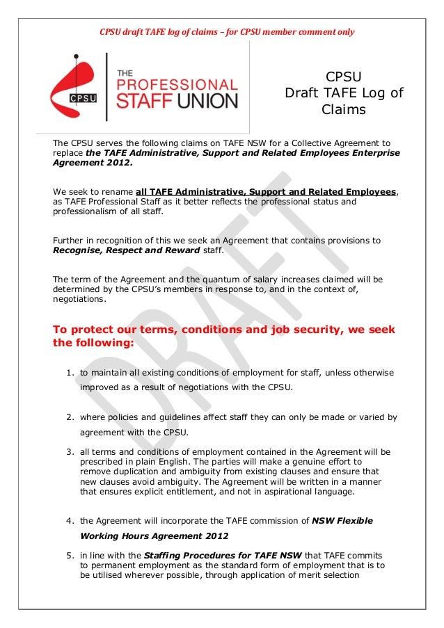 CPSU draft TAFE log of claims – for CPSU member comment only                                                              ...