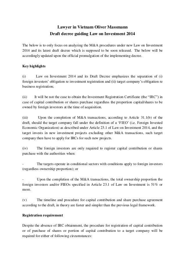 Lawyer in vietnam oliver massmann draft decree guiding law on invest lawyer in vietnam oliver massmann draft decree guiding law on investment 2014 the below is to yelopaper Choice Image