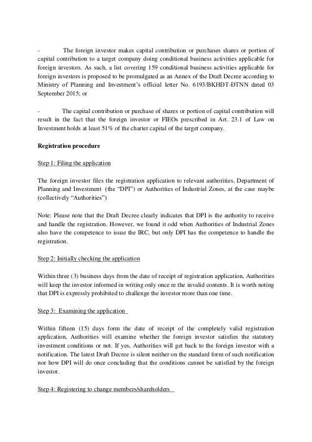 Lawyer in Vietnam Oliver Massmann Draft decree guiding Law on Invest…