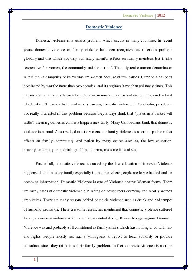 essay on domestic violence in families With permission from the family violence prevention fund queen lane domestic violence community mobilization initiative philadelphia, pennsylvania are most affected by the violence the families and communities that live with it have largely been.