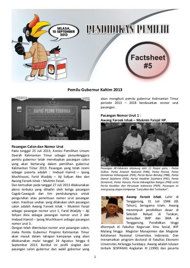 1 Pemilu Gubernur Kaltim 2013 Pasangan Calon dan Nomor Urut Pada tanggal 25 Juli 2013, Komisi Pemilihan Umum Daerah Kalima...