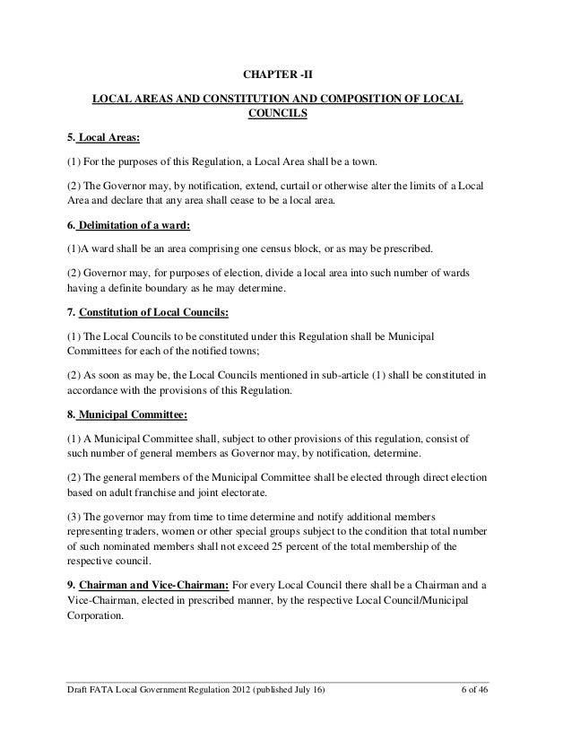 Draft #1 FATA Local Government Regulation (July 2012, FATA