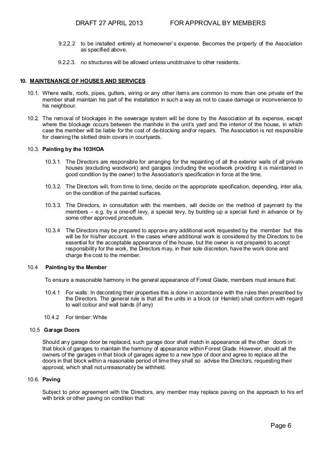 Forest Glade Estate Draft Hoa Rules