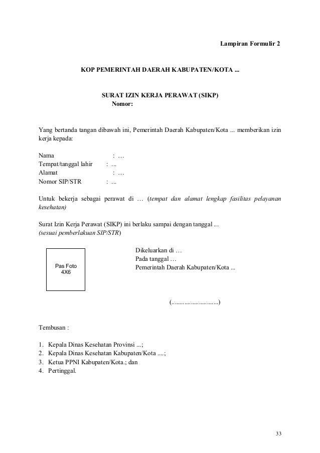 Surat Permohonan Izin Kerja Perawat Jalan Kutai B