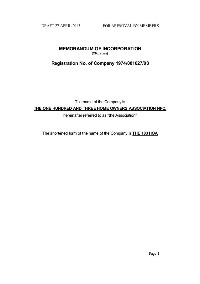 DRAFT 27 APRIL 2013 FOR APPROVAL BY MEMBERS Page 1 MEMORANDUM OF INCORPORATION (20 pages) Registration No. of Company 1974...