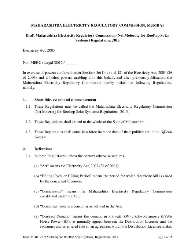 Draft MERC (Net Metering for Rooftop Solar Systems) Regulations, 2015 Page 1 of 17 MAHARASHTRA ELECTRICITY REGULATORY COMM...