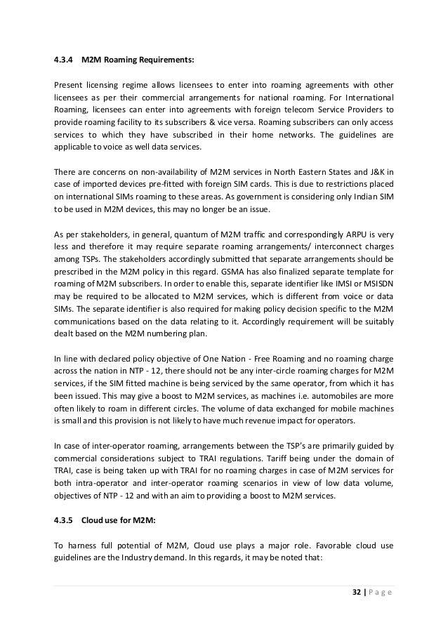 Draft national telecom m2 m roadmap