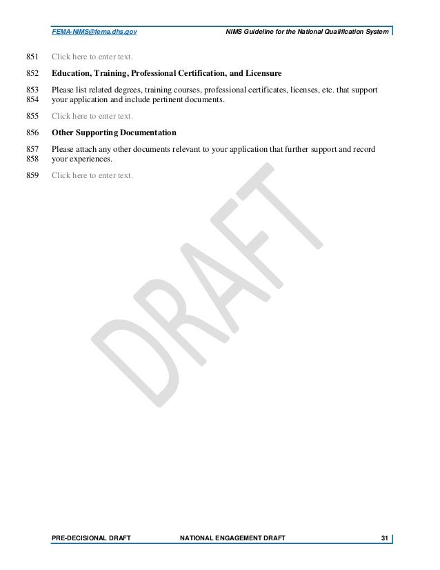 National Incident Management System Nims Nqs Draft