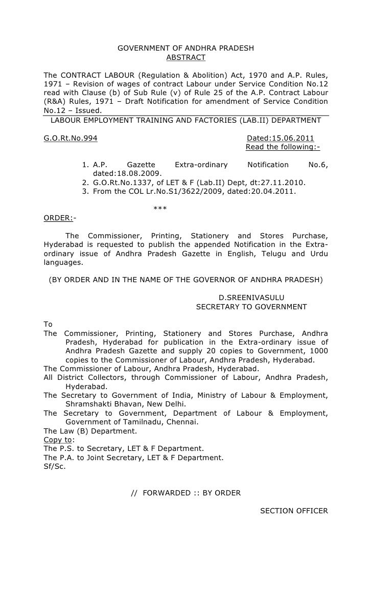 GOVERNMENT OF ANDHRA PRADESH                            ABSTRACTThe CONTRACT LABOUR (Regulation & Abolition) Act, 1970 and...