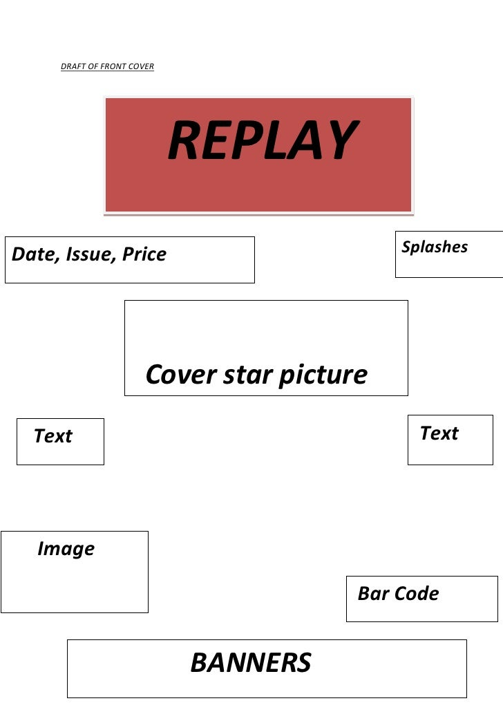 DRAFT OF FRONT COVER<br />    REPLAY<br /> TextSplashesDate, Issue, Price      Image       Cover star picture             ...