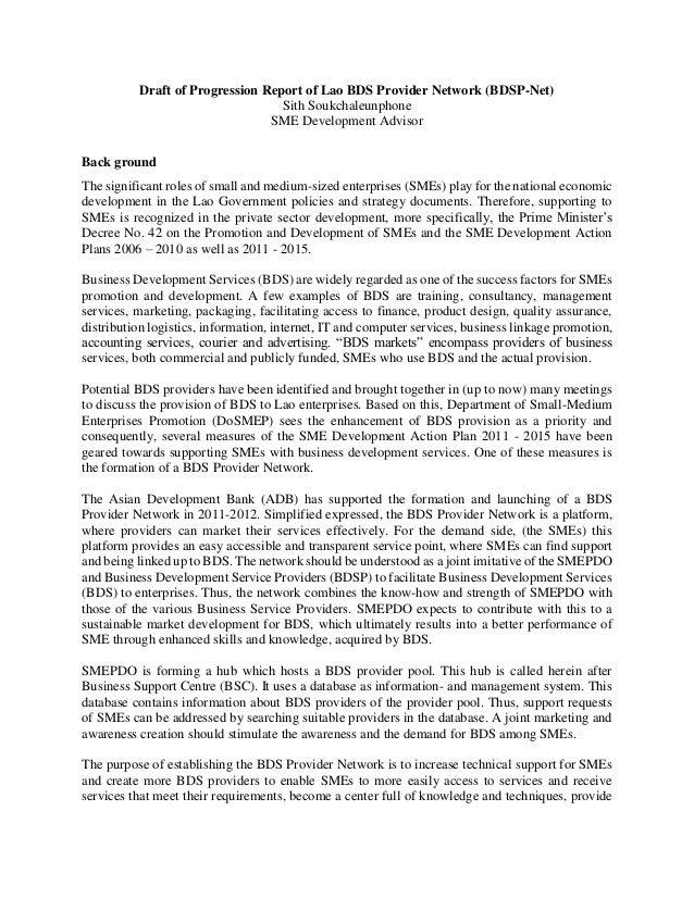 Draft of Progression Report of Lao BDS Provider Network (BDSP-Net) Sith Soukchaleunphone SME Development Advisor Back grou...