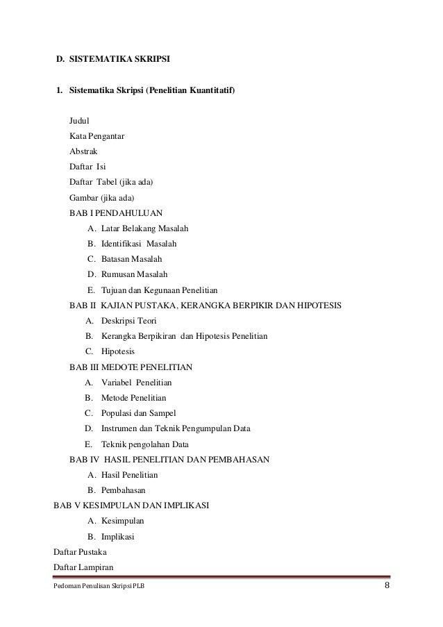 skripsi 1 sistematika skripsi penelitian kuantitatif judul kata