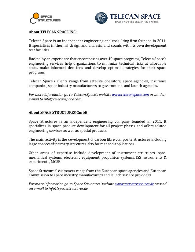 Press Release Telecan Space And Space Structures Collaboration Agreem