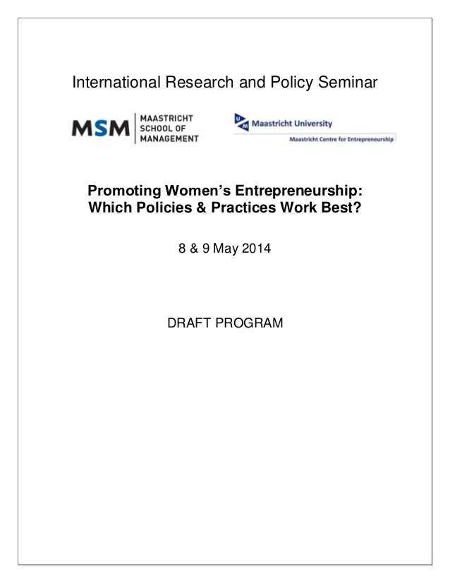 International Research and Policy Seminar Promoting Women's Entrepreneurship: Which Policies & Practices Work Best? 8 & 9 ...