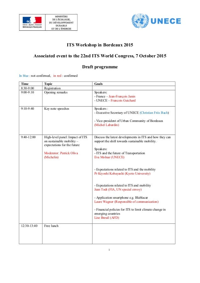 ITS Workshop in Bordeaux 2015 Associated event to the 22nd ITS World Congress, 7 October 2015 Draft programme In blue : no...