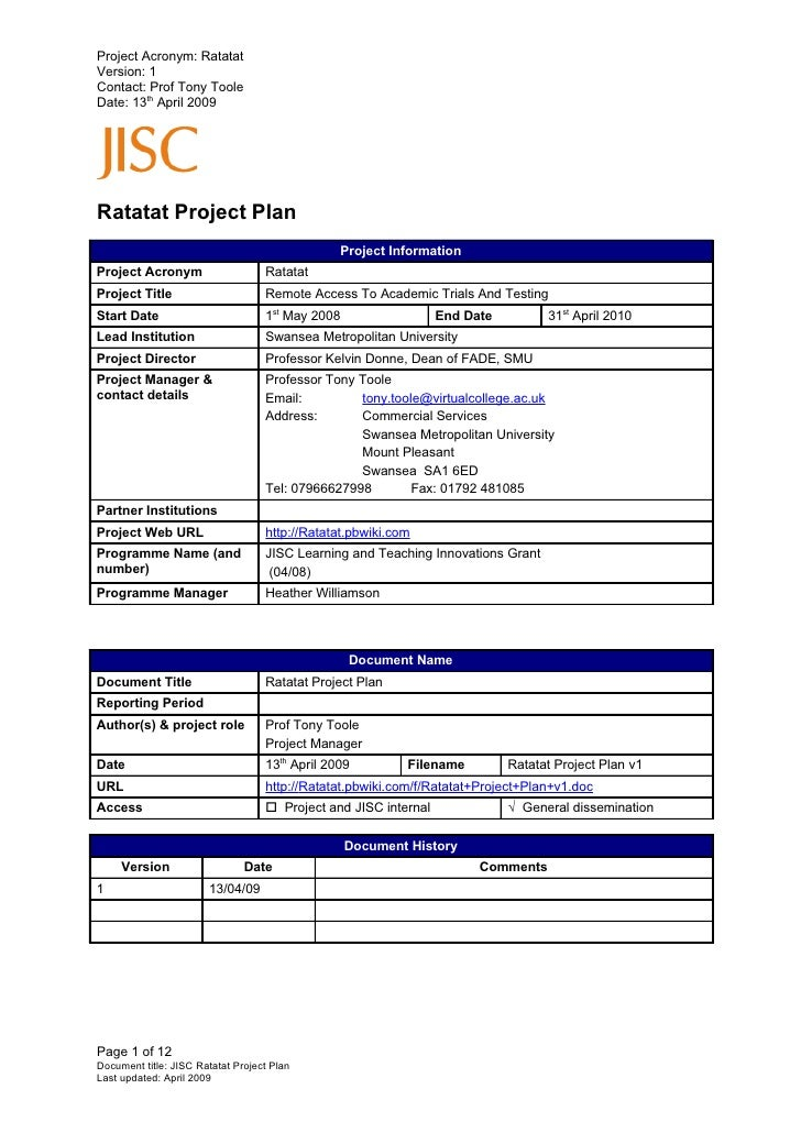 Project Acronym: Ratatat Version: 2 Contact: Prof Tony Toole Date: 26th May 2009     Ratatat Project Plan                 ...