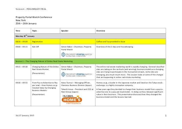 Version4–PRELIMINARYFINAL 26/27January2015 1 PropertyPortalWatchConference NewYork 25th–26thJanuary ...