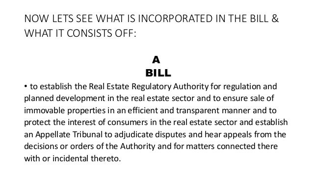 Real Estate Regulatory Bill' 2015