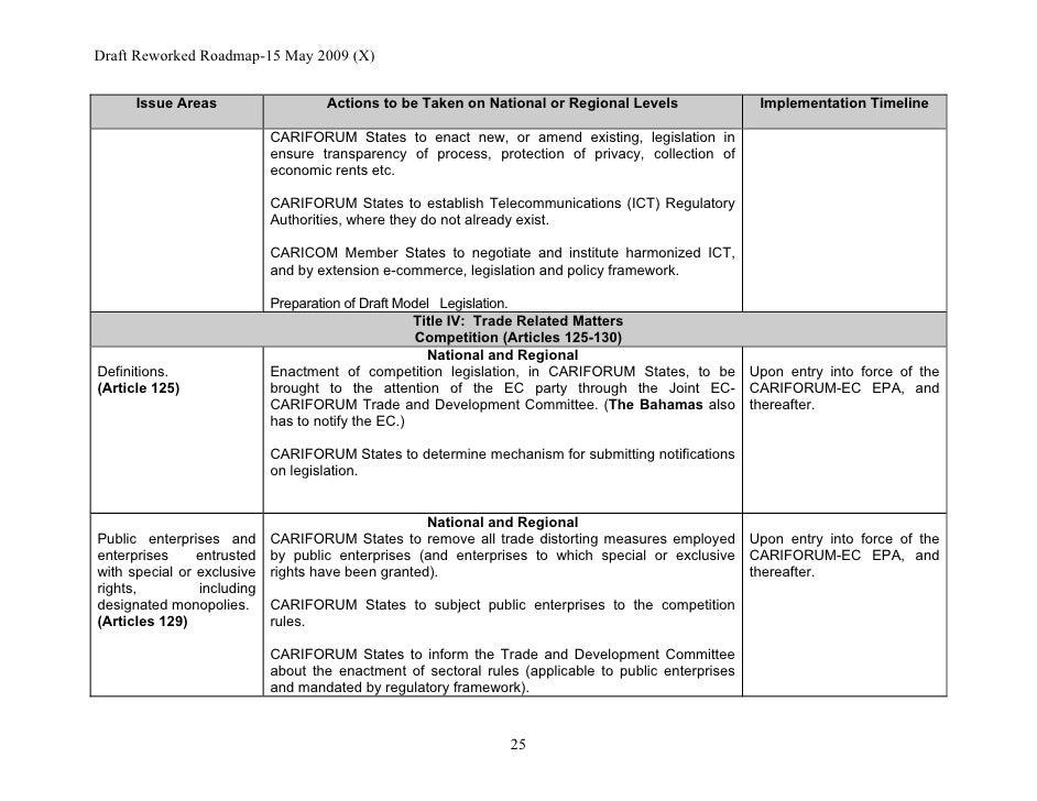 The Cf Ec Economic Partnership Agreement Epa Implementation Roadma