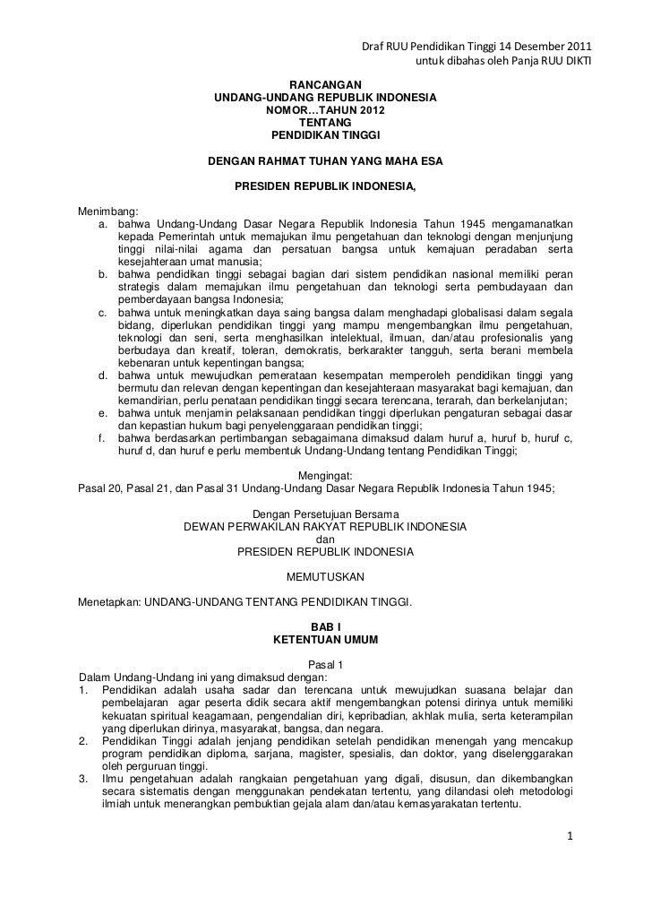 Draf RUU Pendidikan Tinggi 14 Desember 2011                                                                  untuk dibahas...