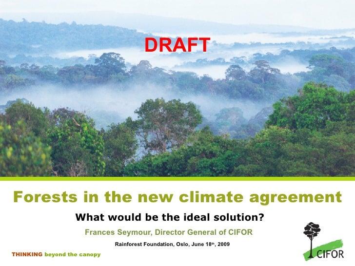 DRAFT What would be the ideal solution? <ul><li>Frances Seymour, Director General of CIFOR </li></ul><ul><li>Rainforest Fo...