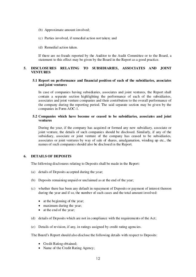 Exposure Draft Secretarial Standard On Report Of The Board Of Directo…