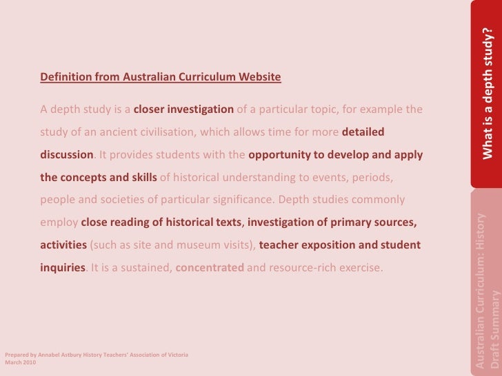 the australian history overview Overview aboriginal and torres strait islander histories and cultures the australian curriculum: history is organised into two interrelated strands.