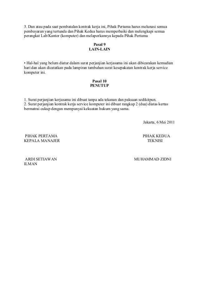 Draft Surat Perjanjian Kontrak Kerja
