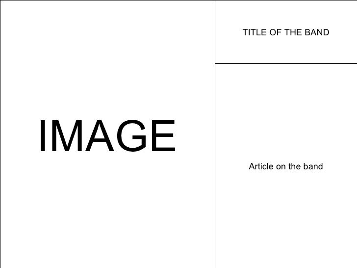IMAGE TITLE OF THE BAND Article on the band