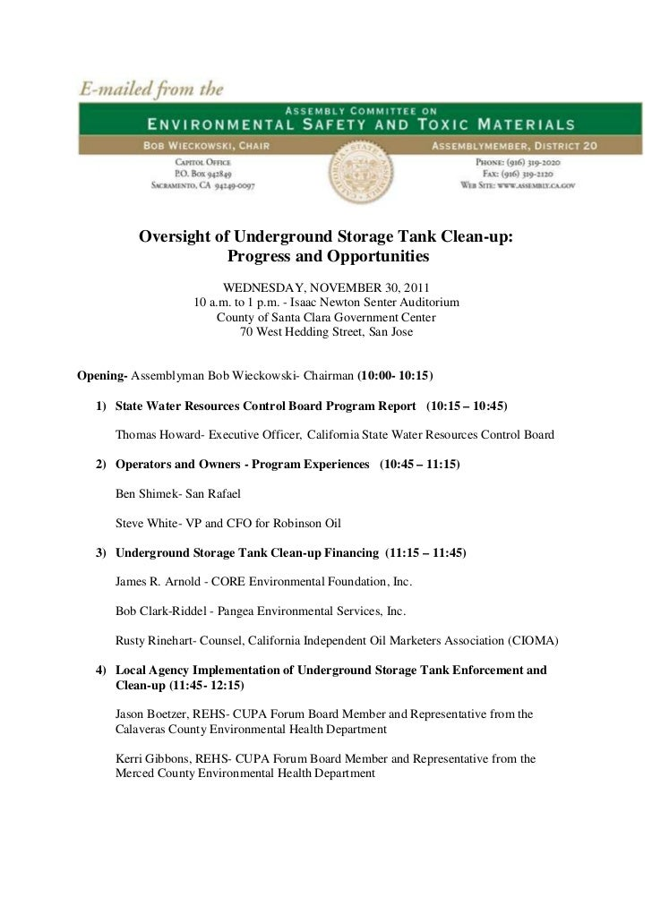 Oversight of Underground Storage Tank Clean-up:                      Progress and Opportunities                          W...