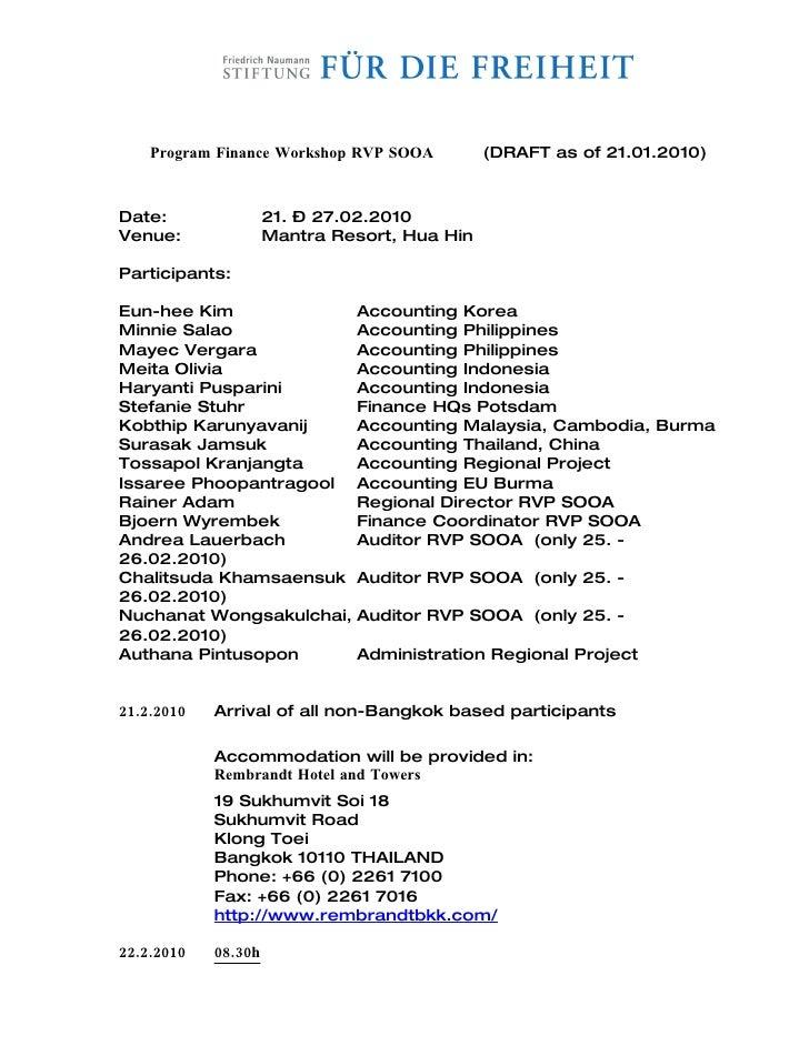 Program Finance Workshop RVP SOOA         (DRAFT as of 21.01.2010)    Date:                21. – 27.02.2010 Venue:        ...