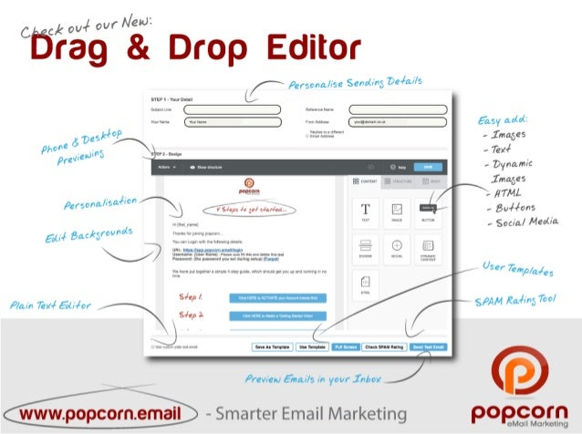 Drag drop-editor - All New popcorn Email Marketing