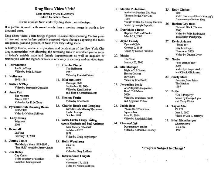 Drag Show Video Verite Clip List