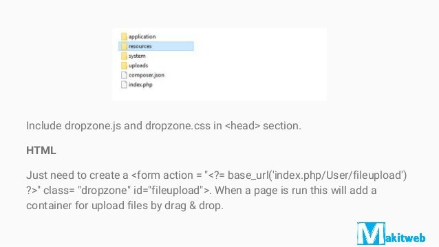 Drag and drop file upload with Dropzone in CodeIgniter