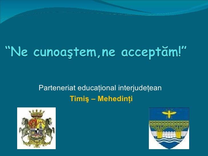 Parteneriat educaţional interjudeţean  Timiş – Mehedinţi