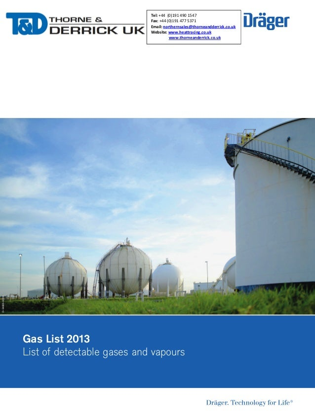 Drager Fixed Gas Detector - Gas List Brochure