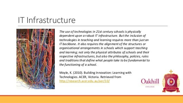 IT Infrastructure The use of technologies in 21st century schools is physically dependent upon a robust IT infrastructure....