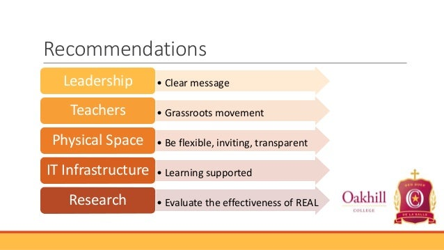 Recommendations Leadership Teachers Physical Space IT Infrastructure Research  • Clear message • Grassroots movement • Be ...