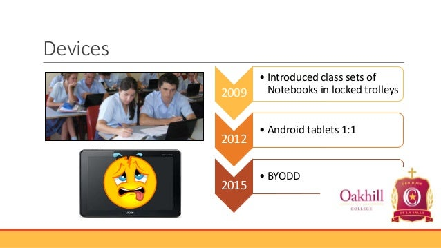 Devices 2009  2012  2015  • Introduced class sets of Notebooks in locked trolleys • Android tablets 1:1  • BYODD