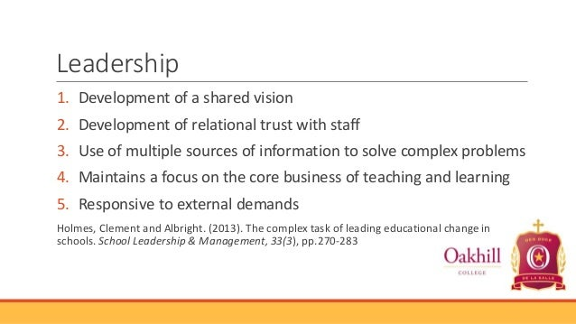 Leadership 1. Development of a shared vision  2. Development of relational trust with staff 3. Use of multiple sources of ...