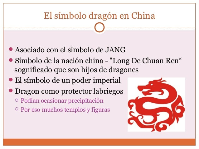 """El símbolo dragón en China  Asociado con el símbolo de JANG  Símbolo de la nación china - """"Long De Chuan Ren""""  sognifica..."""