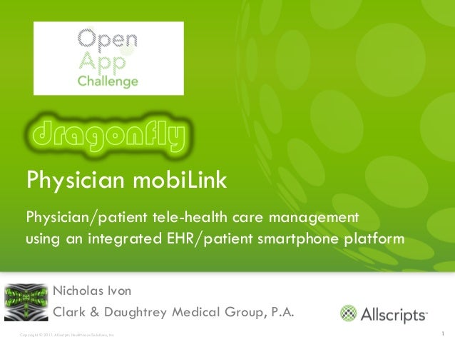 Physician mobiLink  Physician/patient tele-health care management  using an integrated EHR/patient smartphone platform    ...