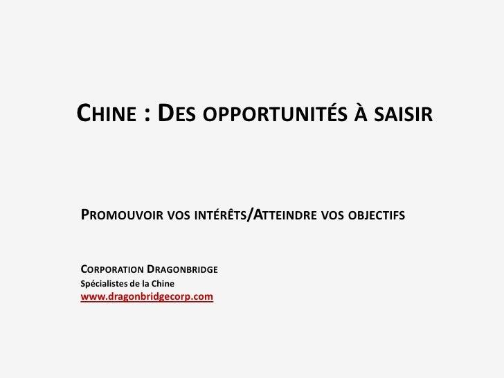 CHINE : DES OPPORTUNITÉS À SAISIRPROMOUVOIR VOS INTÉRÊTS/ATTEINDRE VOS OBJECTIFSCORPORATION DRAGONBRIDGESpécialistes de la...