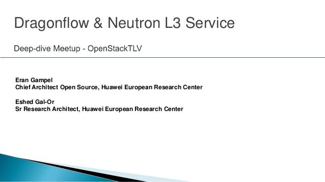Eran Gampel Chief Architect Open Source, Huawei European Research Center Eshed Gal-Or Sr Research Architect, Huawei Europe...