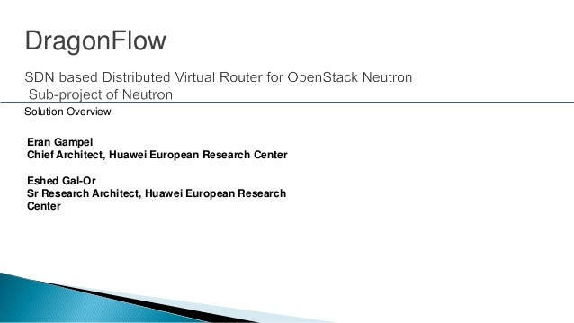 Eran Gampel Chief Architect, Huawei European Research Center Eshed Gal-Or Sr Research Architect, Huawei European Research ...